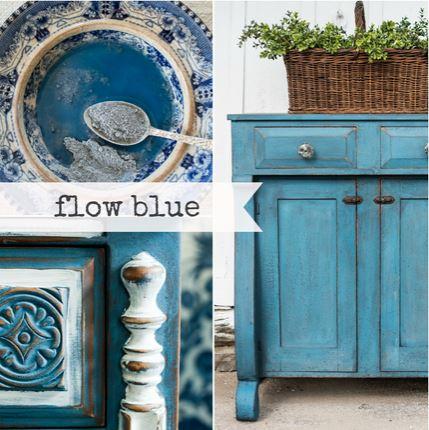 Miss Mustard Seed´s Milk Paint im Farbton Flow Blue, einem gedeckten Blau.
