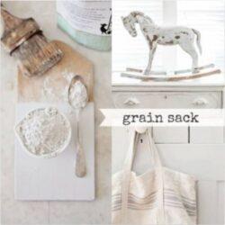 Miss Mustard Seed´s Milk Paint im Farbton Grain Sack, einem graustichigen, leicht cremigen Weiß.