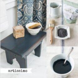 Miss Mustard Seed´s Milk Paint im Farbton Artissimo, einem tiefen Dunkelblau.